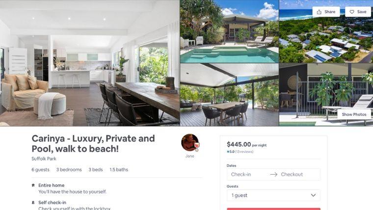 Airbnbのウェブサイト