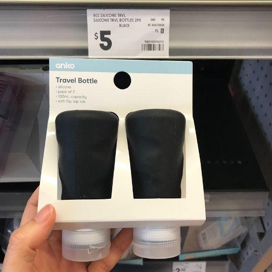 黒い旅行用詰め替えボトル