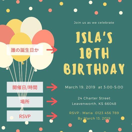 緑色で風船が書いてある誕生日会の招待状