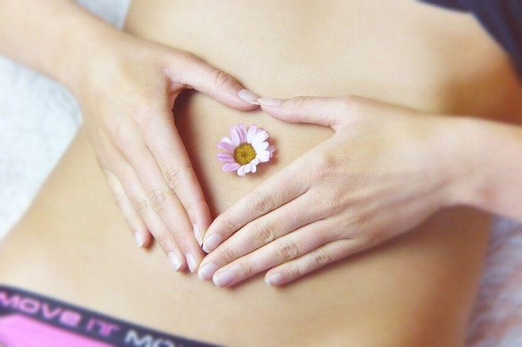 お腹の上にピンクの小さい花がのっている
