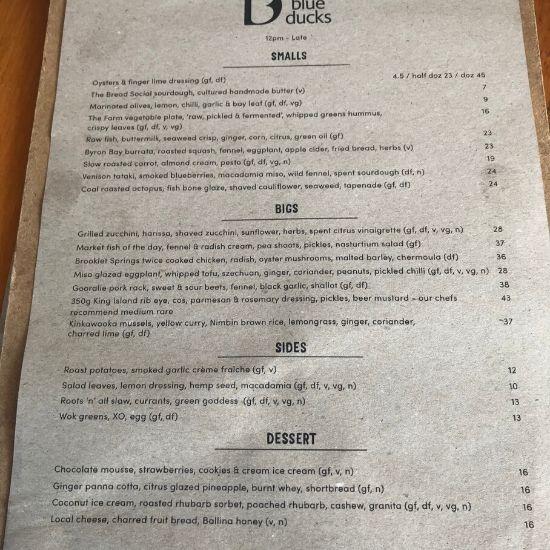 レストランのメニュー