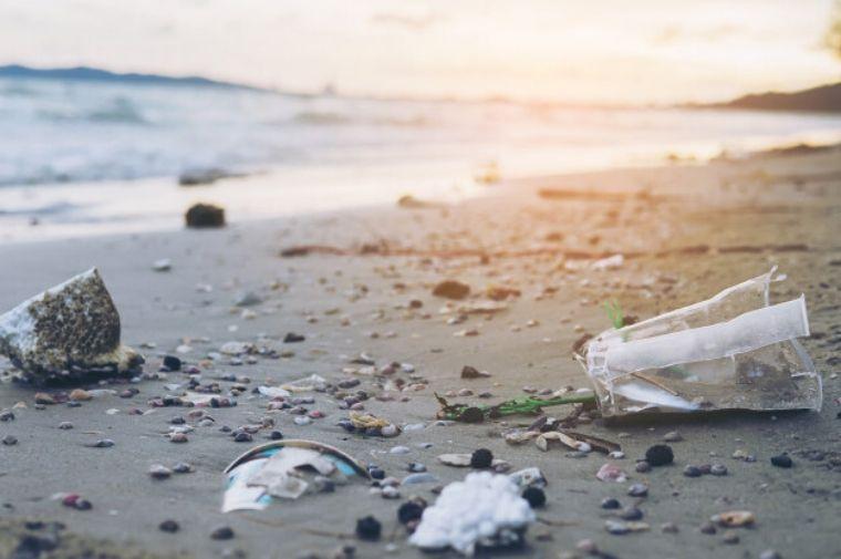 ビーチに散乱しているゴミ